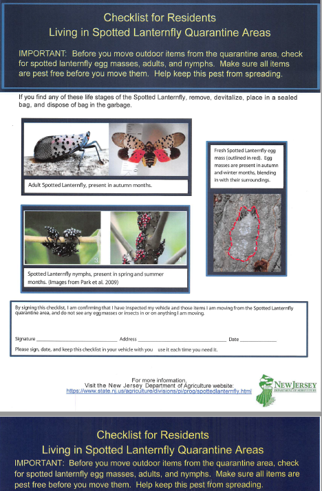 Spotted Lanternfly Checklist for Residents Picture